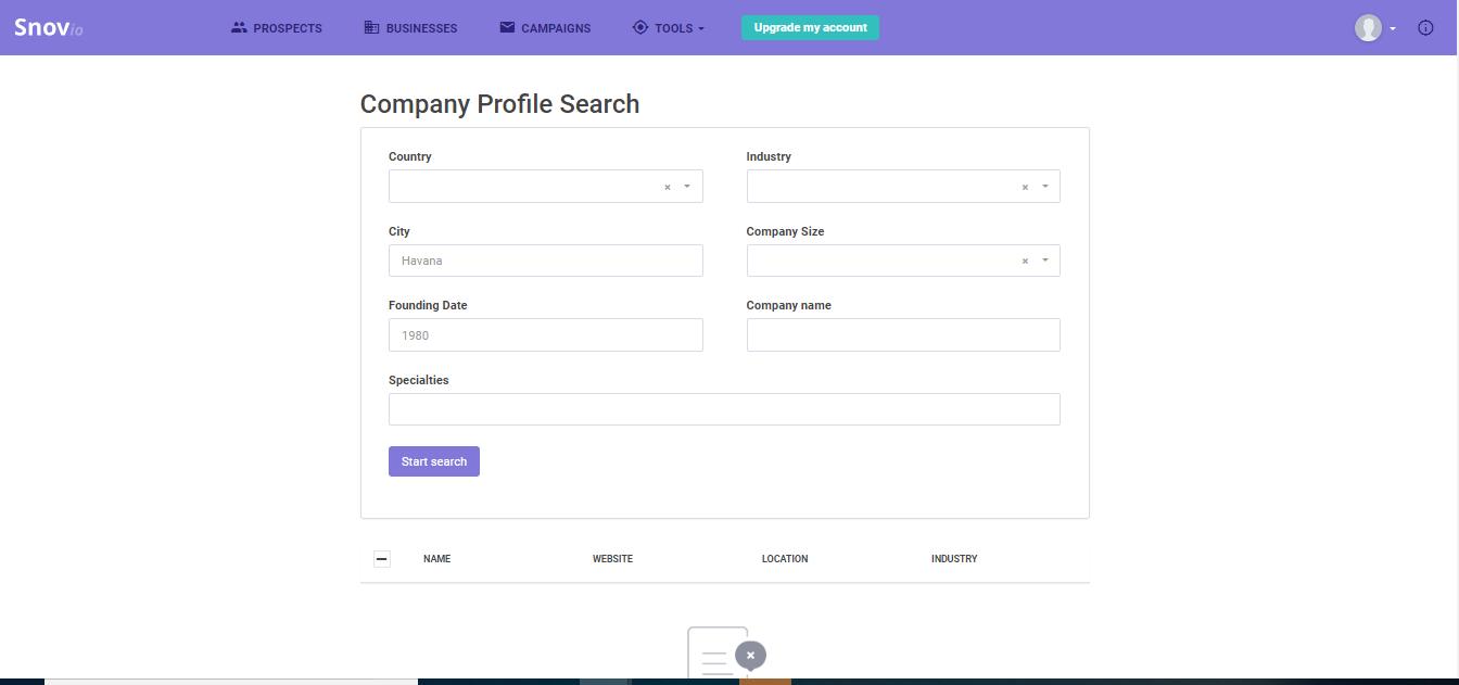 Company Profile Search
